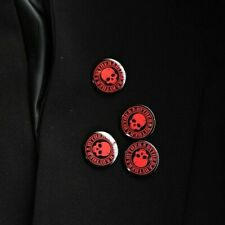 ByTheR Fashion Rustless Antirust Tin Round Badge Black White Red Skull Cross