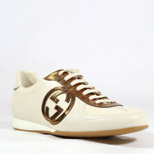 Gucci Designer Womens Shoes Beige Leather Sneakers (GGW1528)