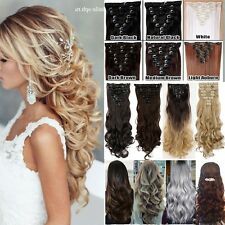 Full Head 8Pcs/Set Real Thick Clip In Hair Extensions Long 18Clips Wedding Lmn