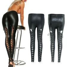 Women's Ladies Sretchy Fitness Lace Up Leather Leggings Clubwear Pants Trousers