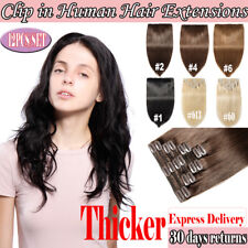 Real 100% Human Remy Clip in Hair Extensions Full Head 12piece/lots Extra Thick