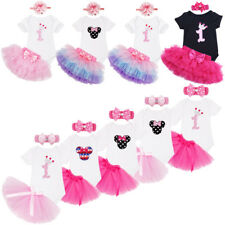 Baby Girls 1st Birthday Tutu Skirt Outfit First Party Dress Up Minnie Romper Set