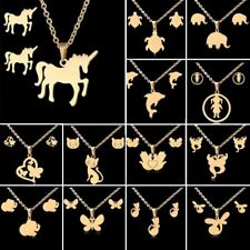 New Stainless Steel Necklace Earrings Set Gold Cat Horse Elephant Women Jewelry