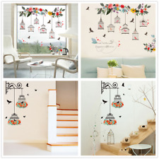 Removable Flowers  Birdcages Wall Stickers Decals Art Mural Vinyl Home Decor Diy