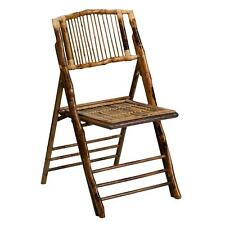 Empire Deco-Style Bamboo Folding Chairs Brown