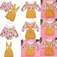 2PCS Toddler Baby Girls Romper T-Shirt Tops + Suspender Shorts Set Outfits