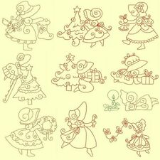 Christmas Sunbonnets Machine Embroidery Redwork-40 Designs-By Anemone Embroidery