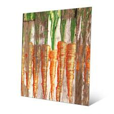 Row of Carrots Planked Wood Wall Art on Metal