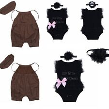 2pcs Newborn Baby Girls Jumpsuit Romper Bodysuit Sunsuit+ Headband Outfits Set