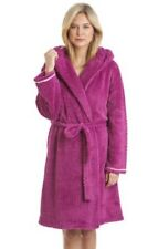 Ladies Supersoft Waffle Fleece Wrap Over Shawl Hood Dressing Gown Bathrobe 67218