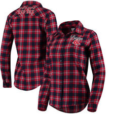 Boston Red Sox Women's Flannel Button-Up Long Sleeve Shirt - Navy