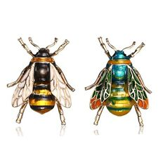 Vintage Enamel Bumble Bee Crystal Brooch Pin Costume Badge Women Jewelry Gift