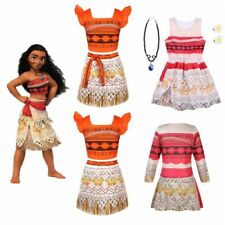 Girls Moana Princess Costume Fancy Dress Necklace Cosplay Halloween Outfit Party