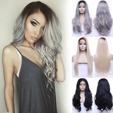 Women Full Wig Lace Front Wigs Curly Wave Ombre Synthetic Hair U Part Lace Short