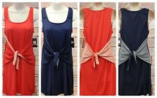 Tommy Hilfiger Tank Dress Small Sleeveless Tie Belt Tomato Red Navy Blue NWT S3