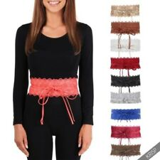 Womens Floral Crochet Lace Self Tie Wrap Around Wide Obi Waist Band Cinch Belt
