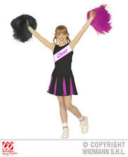Girls Kids Childs Cheerleader Black/Pink Fancy Dress Costume Outfit 5-7 Yrs