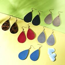 New Genuine Leather Earrings Leaf Teardrop Dangle Ear Stud Women Wedding Jewelry