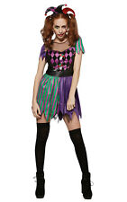Womens Ladies Harlequin Jester Fancy Dress Costume Outfit Halloween Clown