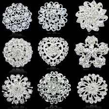 Fashion Rhinestone Crystal Flower Wedding Bridal DIY Bouquet Women Brooch Pin