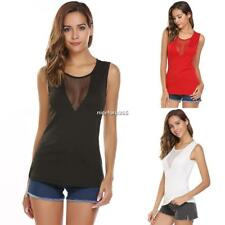 Women Casual O-Neck Sleeveless Patchwork See Through Mesh Sexy Vest Tops N4U8 01