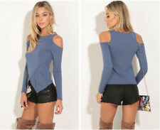 Womens Sexy Clothes Long Sleeve Off Shoulder T-Shirt Casual Fitted Shirt NEW2018