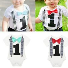 Infant Baby Boys First Birthday Romper Jumpsuit Short Sleeves Bow Tie Bodysuit