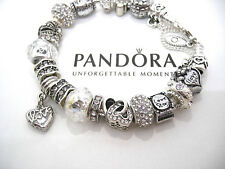 "Authentic Pandora Sterling .925 Silver Bracelet w/European Charms ""I Love You"""