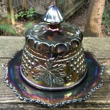 CARNIVAL LOVELY SIGNED NORTHWOOD PURPLE GRAPE AND CABLE BUTTER DISH