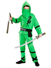 Boys Power Ninja Japanese Samurai Warrior Child Green Fancy Dress Costume Outfit