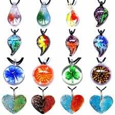 Charm Murano Lampwork Glass Round Flower Heart Pattern Pendant Necklace Jewelry