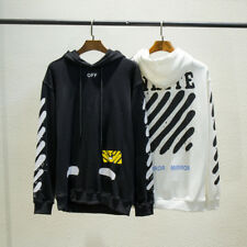OFF-white hoodie black white spray painted pullover hoodie stripes sleeves Z