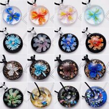 Gold Foil Round Flower Lampwork Glass Murano Pendant Necklace Women Jewelry Gift