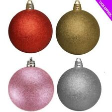 6 x 15cm Giant Glitter Luxury Huge Christmas Decoration Baubles Tree Ornament