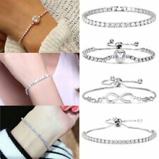 Fashion Silver Plated Crystal Chain Bracelet Women Cuff Bangle New Jewelry Gift