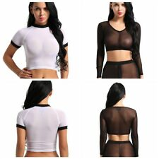 Sexy Women's Ladies V-neck Transparent Sheer Mesh Crop Top T-Shirt Tops Blouse