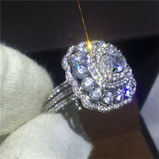 Exquisite White Topaz 925 Silver Women Jewelry Engagement Ring Valentine's Gift