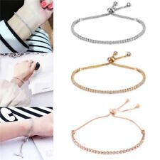 Fashion Silver Plated Crystal Adjustable Bracelet Women Cuff Bangle Jewelry Gift