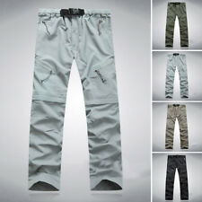 Mens Quick Dry Hiking Fishing Pants Zip Off Leg Casual Cargo Trousers Outdoor