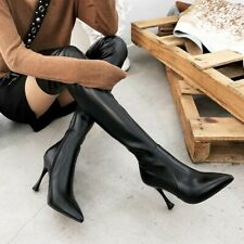 Sexy Women Stilettos Slim High Heel Pointy Toe Over Knee Thigh High Boots Shoes