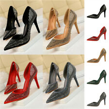 Ladies High Heel Pointed Toe Sequin Pumps Women Sexy Glitter Party Shallow Shoes