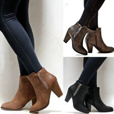 Womens Ladies Mid Block Heel Ankle Boots Point-Toe Office Booties Zip Shoes Size