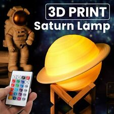 3D Printing Saturn Lamp USB LED Night Light Touch Color Changing Home Decor Xmas