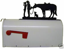 WESTERN ROMANCE MAILBOX TOPPER METAL ART COWBOY COWGIRL HORSE DOG RANCH DECOR