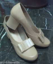 WWII 1940's Women Leather Bow Pump Camel Shoes