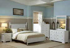 4PC MORELLE COTTAGE WHITE WOOD LOW PROFILE BEDROOM SET