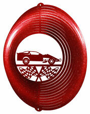 MODIFIED RACE CAR RACING RED Swirly Metal Wind Spinner