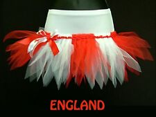 PLUS SIZE TUTU MINI SKIRT FOOTBALL RUGBY CHEERLEADER FANCY DRESS FLAG PARTY