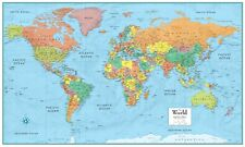 World Map Poster M-Series Large Wall Map - Rand McNally Style