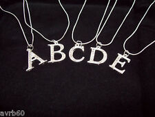 necklace in 16 inch rope chain style with 2 cm diamante initial new